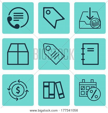 Set Of 9 Commerce Icons. Includes Withdraw Money, Ticket, Cardboard And Other Symbols. Beautiful Design Elements.