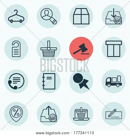 Set Of 16 E-Commerce Icons. Includes Cardboard, E-Trade, Price And Other Symbols. Beautiful Design Elements.
