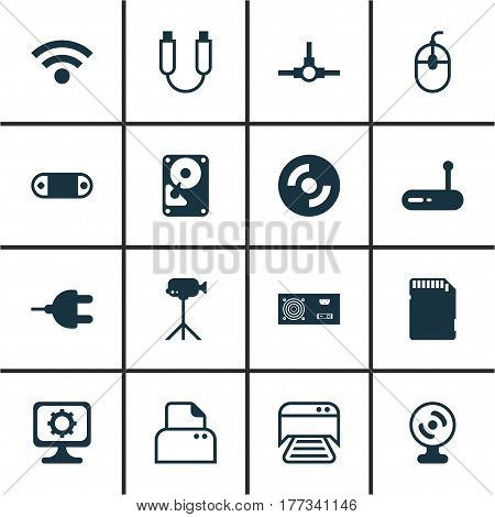Set Of 16 Computer Hardware Icons. Includes Memory Card, Wireless, Printed Document And Other Symbols. Beautiful Design Elements.
