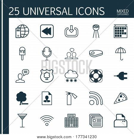 Set Of 25 Universal Editable Icons. Can Be Used For Web, Mobile And App Design. Includes Elements Such As Timber, Sea Rescue, Website Bookmarks And More.