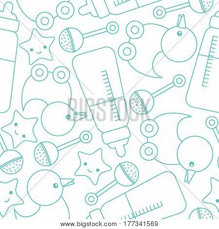 Baby shower seamless pattern with cute duck, star, and toys on blue color suitable for wallpaper, scrap paper, and postcard