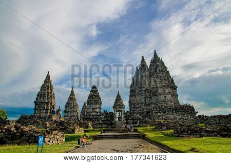 Jogjakarta, Indonesia - Circa January 2012 - A shot of Hindu Temple complex known as Prambanan in Jogjakarta, Indonesia