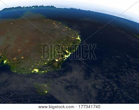 East Coast Of Australia At Night On Planet Earth