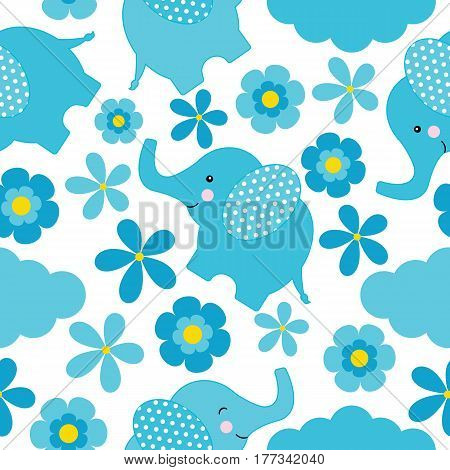 Baby shower seamless pattern with cute elephant and flowers suitable for wallpaper, scrap paper, and postcard