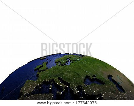 Europe At Night On Model Of Earth With Embossed Land