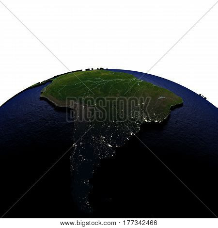 South America At Night On Model Of Earth With Embossed Land