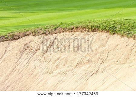 Close-up border of sand bunker contrasting on fresh grass in green golf course.