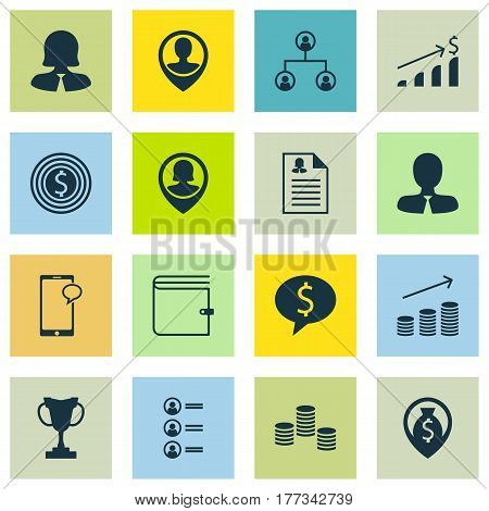 Set Of 16 Hr Icons. Includes Employee Location, Female Application, Wallet And Other Symbols. Beautiful Design Elements.