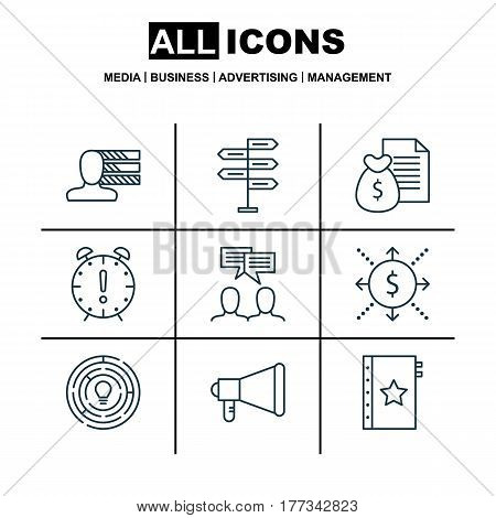Set Of 9 Project Management Icons. Includes Personal Skills, Warranty, Announcement And Other Symbols. Beautiful Design Elements.