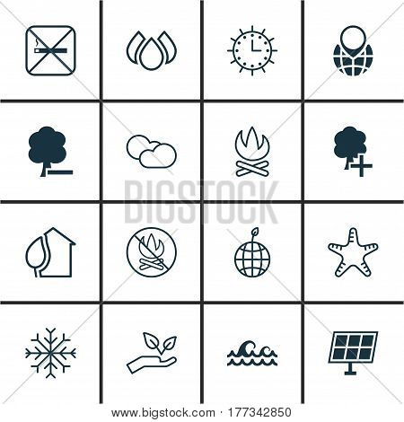 Set Of 16 Ecology Icons. Includes Bonfire, Home, Pin Earth And Other Symbols. Beautiful Design Elements.