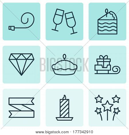 Set Of 9 Holiday Icons. Includes Champagne Glasses, Fire Wax, Toboggan And Other Symbols. Beautiful Design Elements.