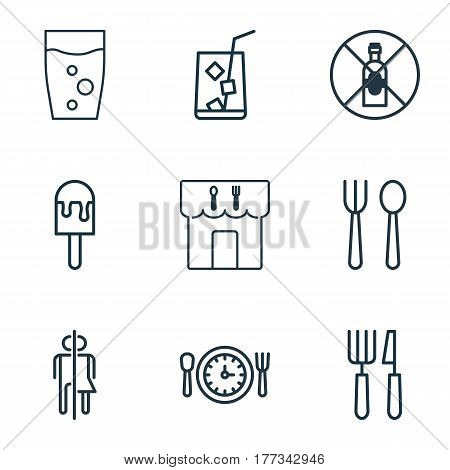 Set Of 9 Food Icons. Includes Restroom, Soda Drink, Restaurant And Other Symbols. Beautiful Design Elements.