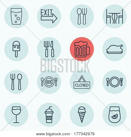 Set Of 16 Cafe Icons. Includes Wineglass, Soda, Closed Placard And Other Symbols. Beautiful Design Elements.