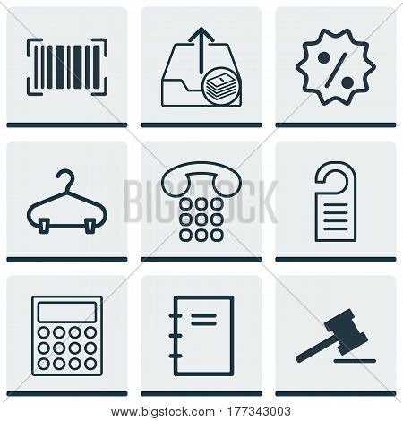 Set Of 9 Commerce Icons. Includes Rebate Sign, Identification Code, Gavel And Other Symbols. Beautiful Design Elements.