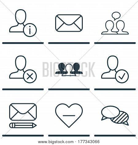 Set Of 9 Social Icons. Includes Speaking, Ban Person, Confirm Profile And Other Symbols. Beautiful Design Elements.