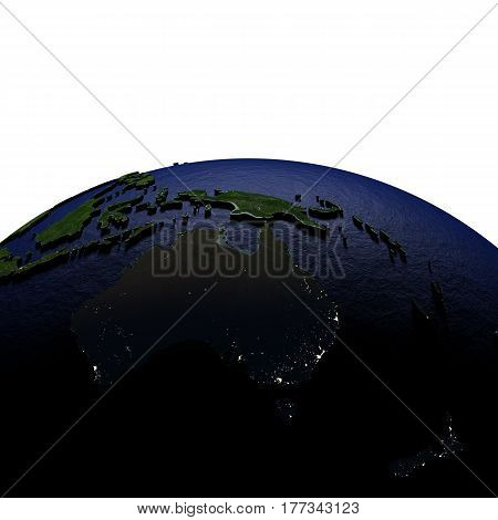 Australia At Night On Model Of Earth With Embossed Land