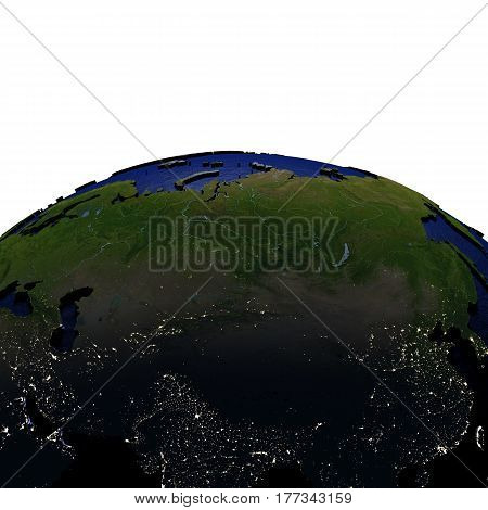 Central Asia At Night On Model Of Earth With Embossed Land