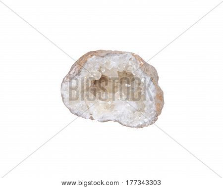Natural raw citrine geode isolated on white background