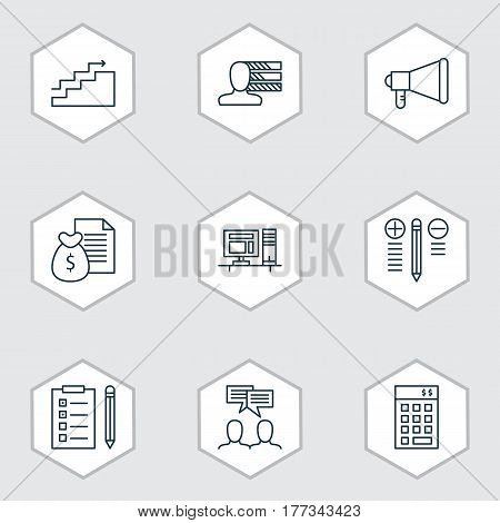 Set Of 9 Project Management Icons. Includes Personal Skills, Growth, Report And Other Symbols. Beautiful Design Elements.