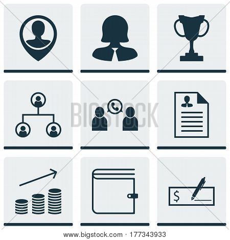 Set Of 9 Human Resources Icons. Includes Phone Conference, Coins Growth, Tournament And Other Symbols. Beautiful Design Elements.