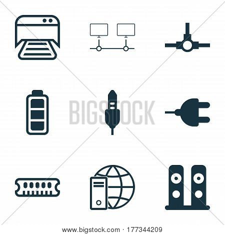 Set Of 9 Computer Hardware Icons. Includes Network Structure, Connected Devices, Accumulator Sign And Other Symbols. Beautiful Design Elements.