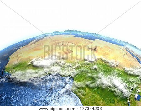 North Africa On Earth - Visible Ocean Floor