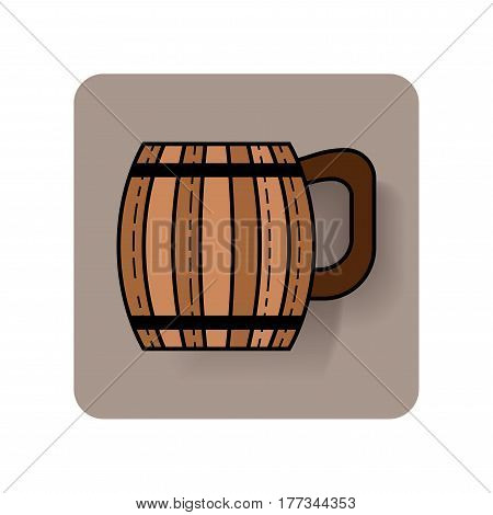 Wooden mug for beer, drinks. Flat icon with shadow on a substrate