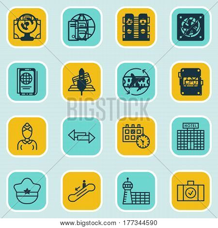 Set Of 16 Airport Icons. Includes Escalator Down, Credit Card, Luggage Scanner And Other Symbols. Beautiful Design Elements.