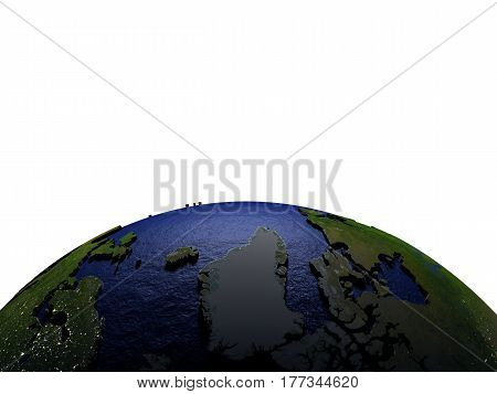 Greenland At Night On Model Of Earth With Embossed Land