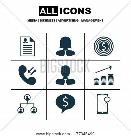 Set Of 9 Management Icons. Includes Business Goal, Cellular Data, Business Deal And Other Symbols. Beautiful Design Elements.