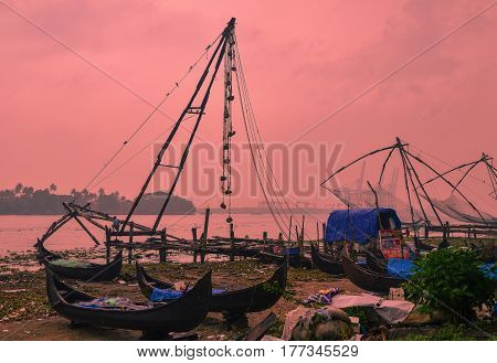 Fort Kochi, Kerala, India - Circa November 2012 - Chinese fishing nets and fishing boats in Fort Kochi, Kerala, India