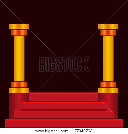 Empty step podium with red stairs and columns on dark background. Celebrity stage.
