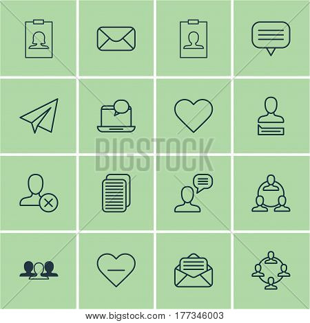 Set Of 16 Social Icons. Includes Chatting Person, Unfollow Icon, Team Organisation And Other Symbols. Beautiful Design Elements.
