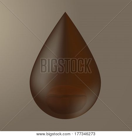 Coffee drop and coffee bean isolated on background.