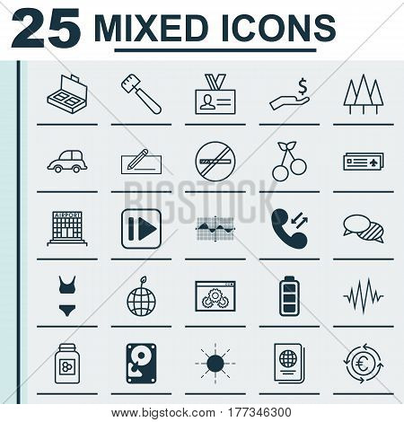 Set Of 25 Universal Editable Icons. Can Be Used For Web, Mobile And App Design. Includes Elements Such As Accumulator Sign, Web Page Performance, Auto Car And More.