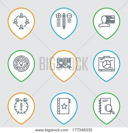 Set Of 9 Project Management Icons. Includes Board, Analysis, Decision Making And Other Symbols. Beautiful Design Elements.