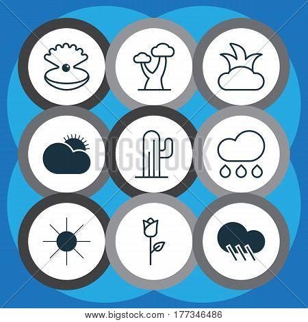 Set Of 9 World Icons. Includes Bush, Sunshine, Oak And Other Symbols. Beautiful Design Elements.