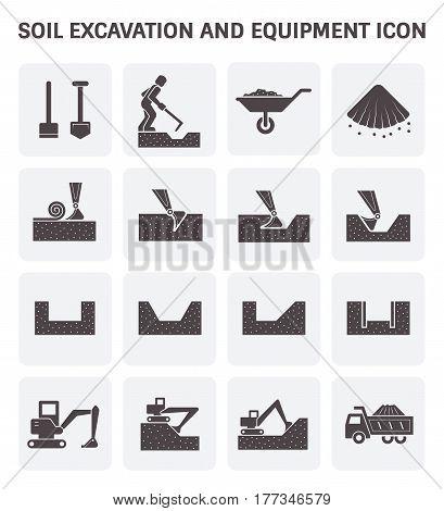 Soil excavation and equipment vector icon set design.