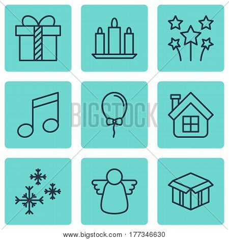 Set Of 9 Happy New Year Icons. Includes Balloon, Crotchets, Open Cardboard And Other Symbols. Beautiful Design Elements.