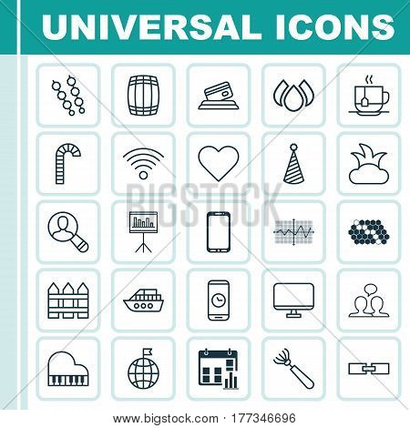Set Of 25 Universal Editable Icons. Can Be Used For Web, Mobile And App Design. Includes Elements Such As Bush, Credit Card, Call Duration And More.