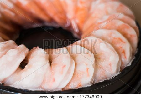 Tray Of Frozen Pile Shrimp stock photo