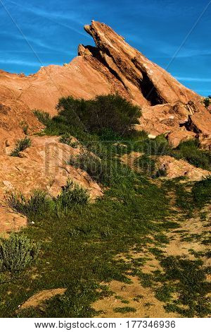Rocks being uplifted from the San Andreas Fault taken at Vasquez Rocks in Agua Dulce, CA