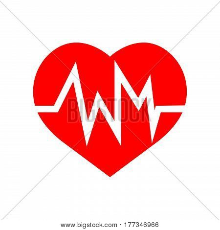 a Flat color heart beat icon vector