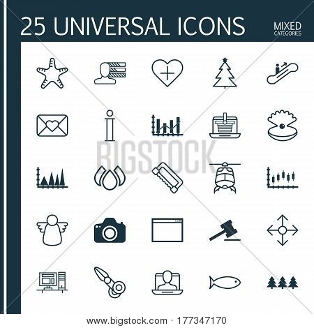 Set Of 25 Universal Editable Icons. Can Be Used For Web, Mobile And App Design. Includes Elements Such As Clippers, Celebration Letter, Aqua And More.