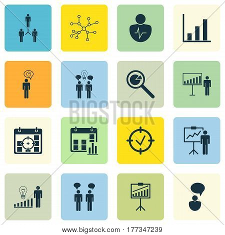 Set Of 16 Board Icons. Includes Co-Working, Project Targets, Report Demonstration And Other Symbols. Beautiful Design Elements.