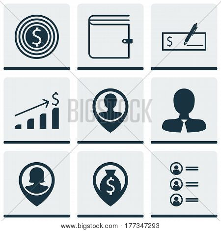 Set Of 9 Hr Icons. Includes Manager, Successful Investment, Bank Payment And Other Symbols. Beautiful Design Elements.
