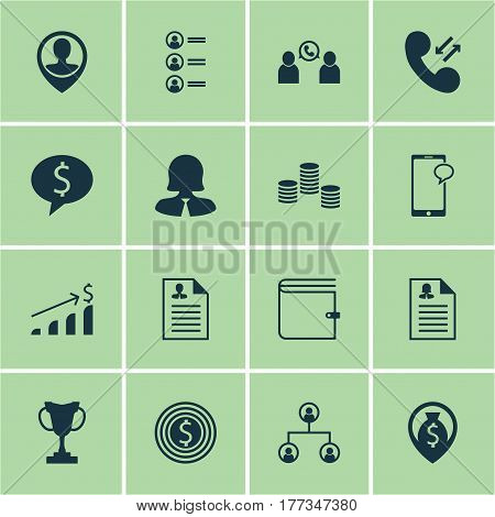 Set Of 16 Management Icons. Includes Business Deal, Tournament, Business Goal And Other Symbols. Beautiful Design Elements.