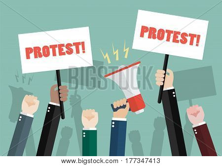 crowd of people protesters. Vector illustration cartoon
