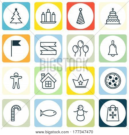 Set Of 16 Happy New Year Icons. Includes Dessert, Blank Ribbon, Decorated Tree And Other Symbols. Beautiful Design Elements.