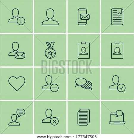 Set Of 16 Social Icons. Includes Mail Notification, Speaking, Internet Site And Other Symbols. Beautiful Design Elements.